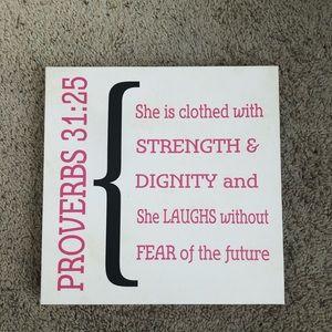 Proverbs 31:25 Canvas Wall Art 12x12